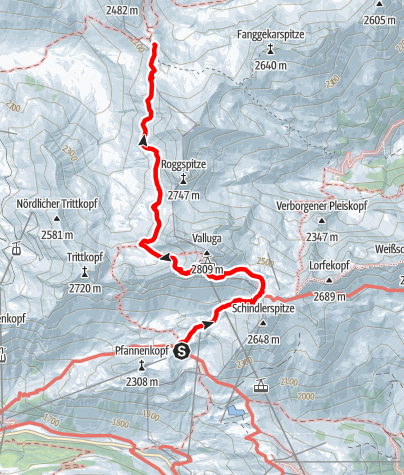 Karte / Übergang Ulmer Hütte zur Stuttgarter Hütte