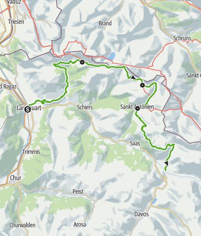 Karte / 72 Prättigauer Höhenweg von Landquart nach Klosters  (4 Etappen)