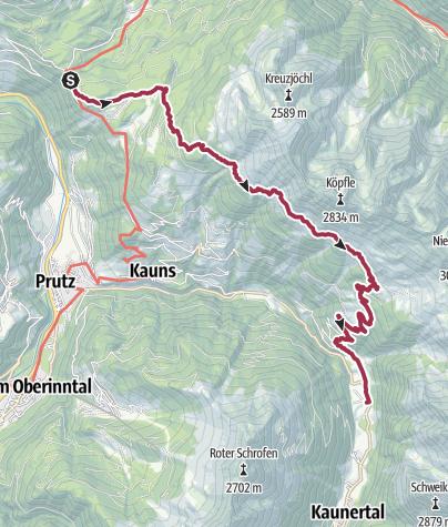 Kaart / Panoramaweg ab Naturparkhaus Kaunergrat