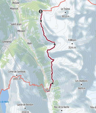 Map / Hotel Weisshorn to Zinal