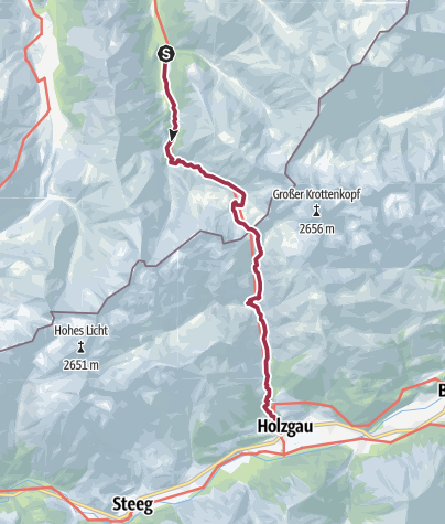 Kaart / Bus to Spielmannsau, walk to Holzgau, transfer to Madau