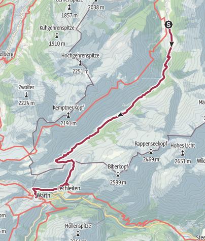 Kaart / Alternative Walk 1: Birgsau - Schofenpass - Warth
