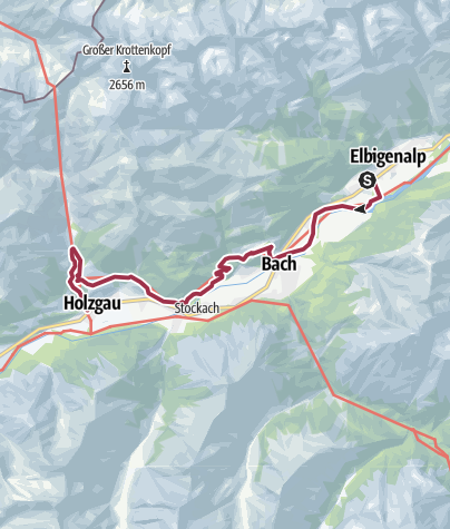 Map / Alternative Walk 2: Elbigenalp - Holzgau