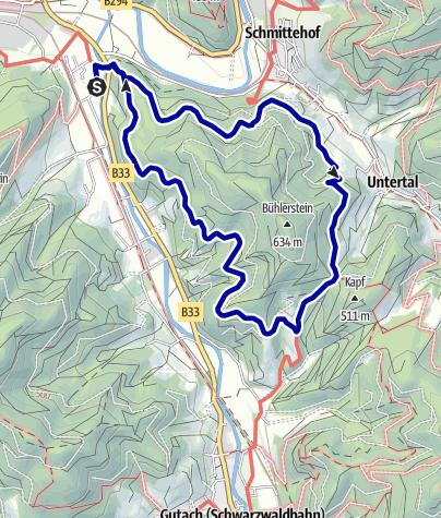 Karte / Gutach  -  Um das Einetköpfle und den Bühlerstein