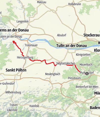 Karte / Jakobsweg Abschnitt Purkersdorf - Göttweig