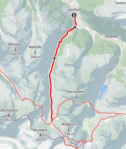 Karte / Zustieg Tübinger Hütte von Gaschurn