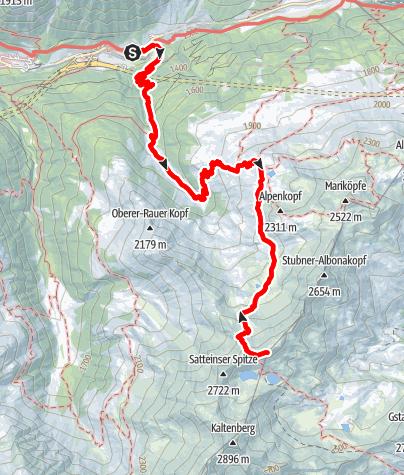 Karte / Kaltenberghütte, 2081 m und Krachelspitze, 2686 m