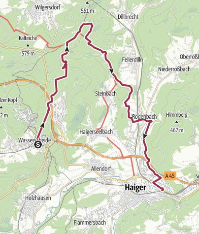 Karte / ÖPNV-Tour: Auf dem Rothaarsteig von Burbach-Würgendorf nach Haiger