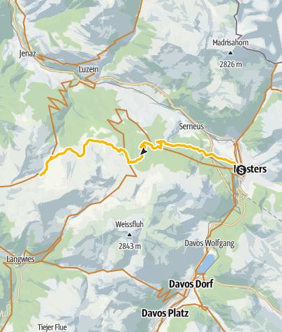 Karte / 333.03 Swiss Bike Masters - dritte Etappe von Klosters Platz auf die Fideriser Heuberge