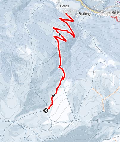 Kaart / 823 Fideriser Heuberge-Schlittelweg