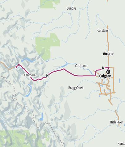 Map / Drive Calgary Airport to Banff