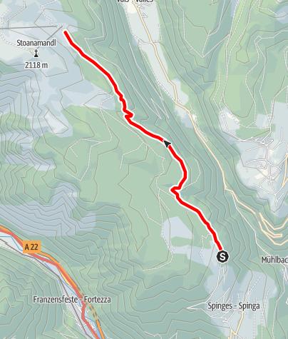 Cartina / Escursione dal parcheggio Naherholungszone Bunker alla baita Anratter