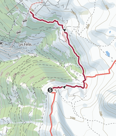 Map / Hotel Weisshorn to Tignousa Cable Car Station