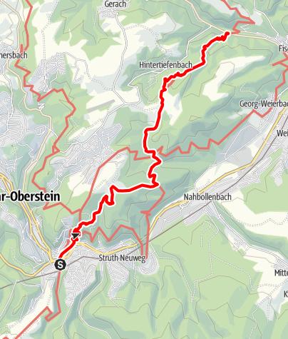 Karte / 01. Teil A: Etappe Hildegard von Bingen Pilgerwanderweg: Idar-Oberstein - Fischbach/Nahe