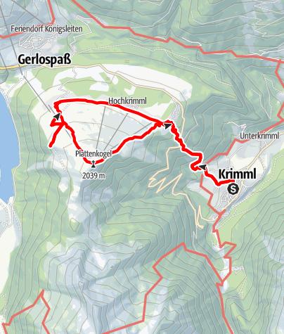 Kaart / Wanderung auf den Plattenkogel (Gerlosplatte)