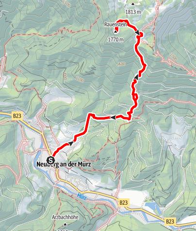 """Karte / Über die """"Farfel"""" auf Schneealm und Rauhenstein im Naturpark Mürzer Oberland"""