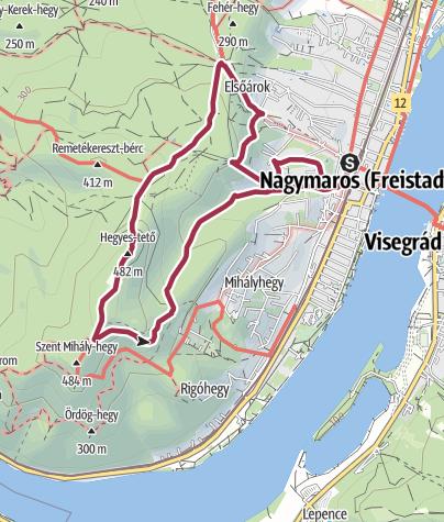 Karte /  Nagymaros - Hegyes-tető (kleine Runde)
