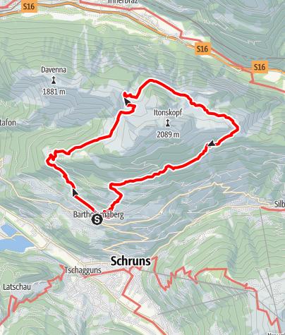 Karte / Rund um den Itonskopf