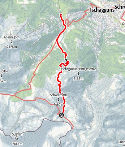 Karte / Rätikonrunde Montafon - Tilisunahütte bis Tschagguns/Latschau