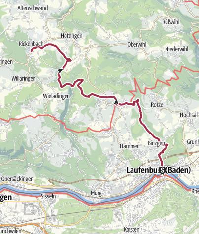 Karte / Rickenbach: Über Berg und Tal