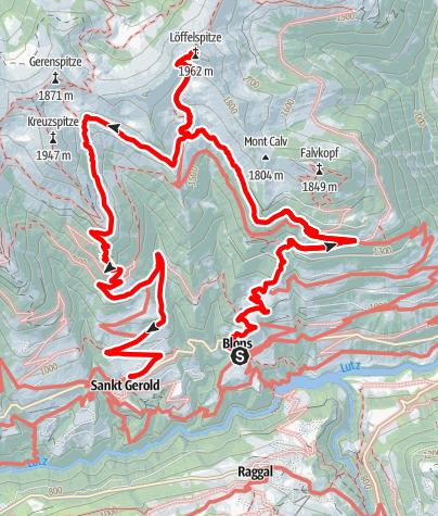 Karte / Blons - Sentum Alpe - Löffelspitze - Plansott | Blons - St. Gerold
