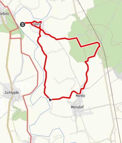 Karte / Rotmilan-Rundweg um Gruna