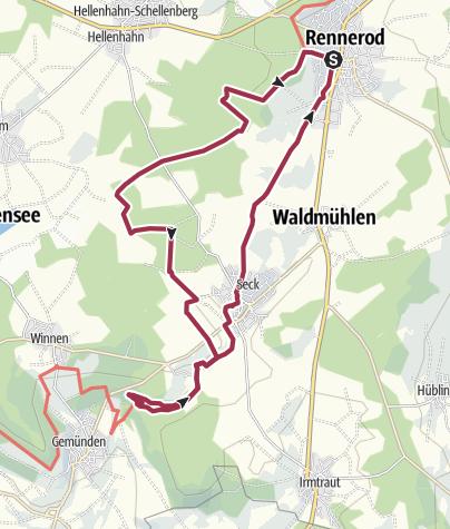 """Karte / WesterwaldSteig-Erlebnisschleife """"Hügel, Seen und eine Schlucht"""""""