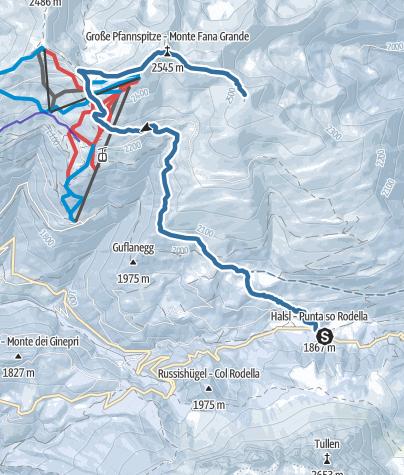 Cartina / Sci alpinismo dal p.sso delle Erbe al Monte Forca Grande