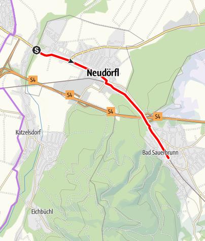 Karte / Verbindungsradweg (Anbindung Wiener Neustadt - Bad Sauerbrunn)