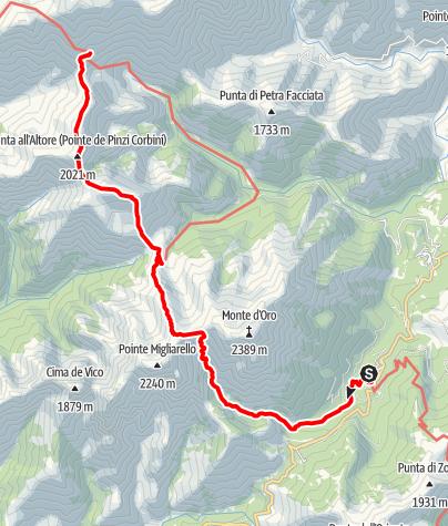 Kaart / Driedaagse tocht van een deel van de GR20 op Corsica