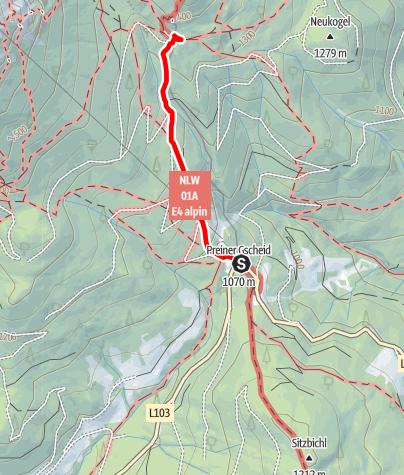 Karte / Wanderung vom Preiner Gscheid aufs Waxriegelhaus