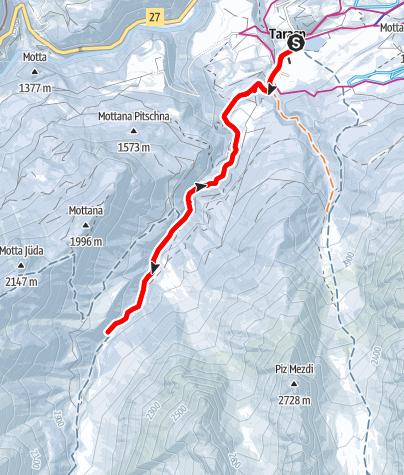 Karte / Tarasp Fontana - Resgia Veglia - Chaldera (retour)