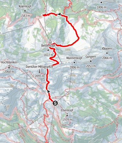 Karte / Damüls | Zur Roßstelle nach Mellau