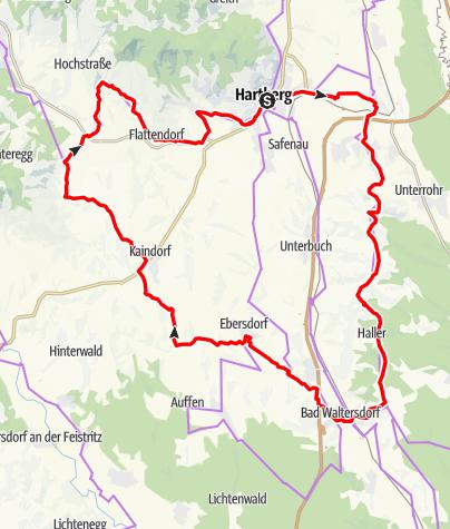 Karte / Entdeckertour 2 - Hartberg / Bad Waltersdorf / Kaindorf / Winzendorf / Hartberg