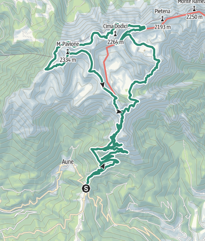 Cartina / Cordín delle Vette – Forcella Valòn – I Piadòch – Monte Pavione