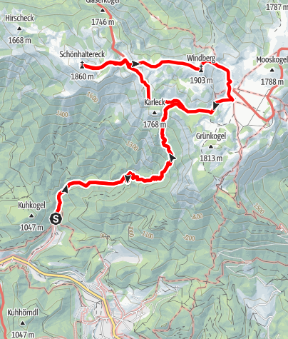 Karte / Durch den Karlgraben auf die Schneealm im Naturpark Mürzer Oberland