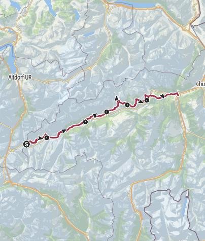 Map / Senda Sursilvana (6 Tage) Gesamtroute