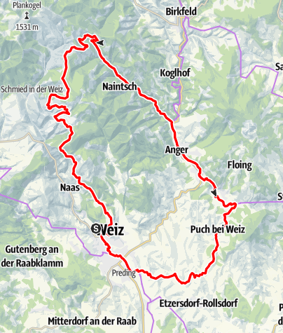 Karte / Entdeckertour 7 - Weiz / St. Kathrein am Offenegg / Brandlucken / Anger / Puch bei Weiz / Weiz