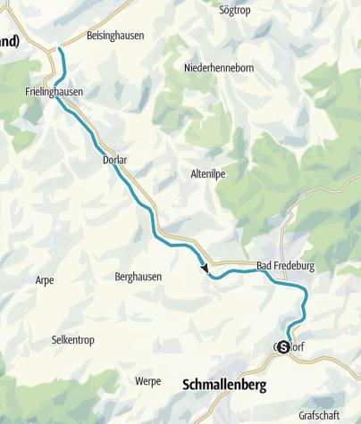 Karte / SauerlandRadring Abschnitt Gleidorf - Bremke