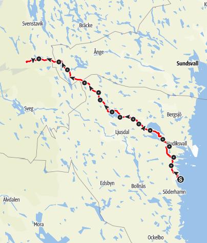Karta / Stråsjöleden, Korsholmen till Kilkoja, 16 etapper