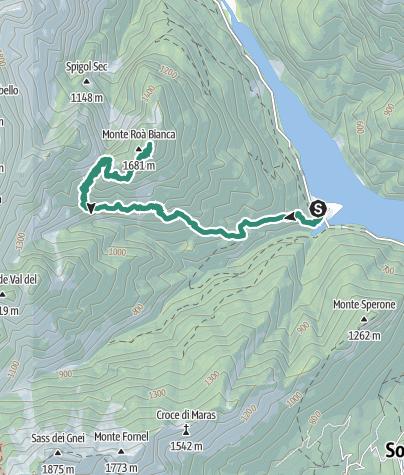 Cartina / Róa Bianca da Pian Falcina per il Forzelìn de la Val de l'Ègua