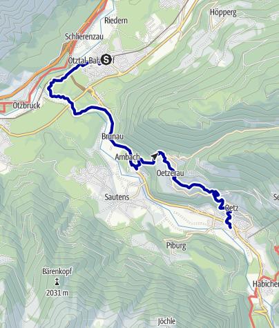 Kaart / Bahnhof Oetztal nach Oetz
