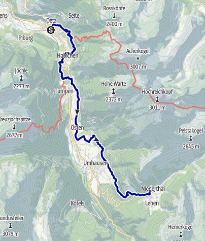Kaart / Von Oetz nach Niederthai