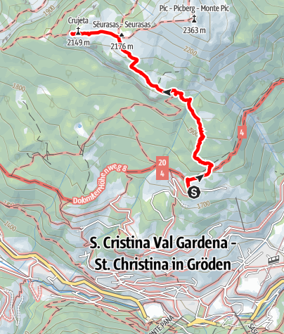 "Map / ""Burning Dolomites"" from the panorama terrace Sëurasas"