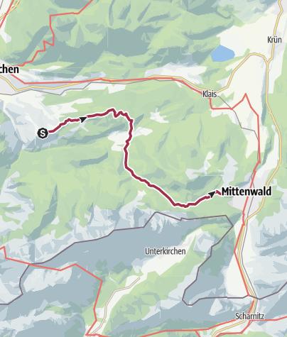 Map / Wanderung nach Mittenwald