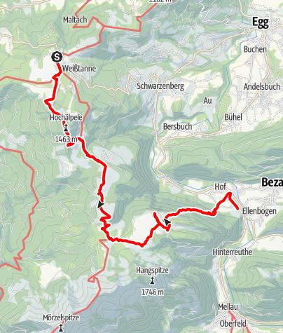 Karte / Reuthe | Bödele - Lustenauerhütte - Weißenfluhalpe - Hottersattel - Schnellvorsäß - Reuthe