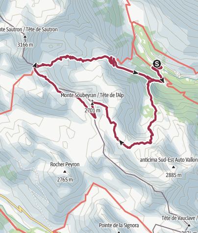 Cartina / Valle Maira, giro dei laghi e cima Coste du Col