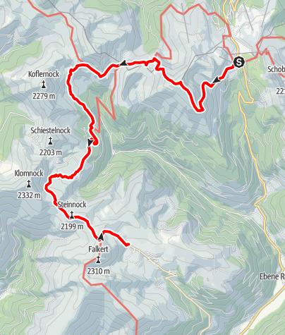 Karte / Nockberge-Trail: Wanderroute Etappe 4