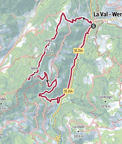 Map / Circular Walk Pederoa to Spizan