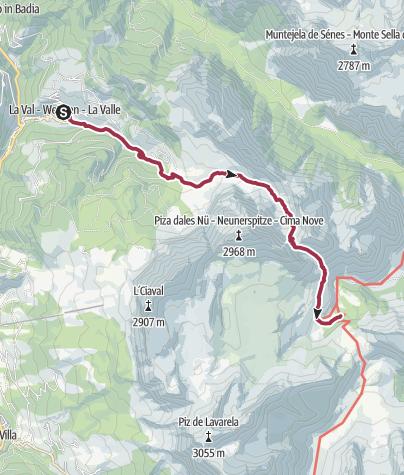 Map / La Valle to Fanes walk